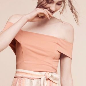 🔴 Deletta Anthropologie Pink Off Shoulder Top